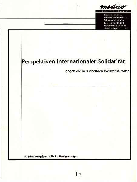 Titelbild: Perspektiven internationaler Solidarität