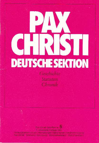 Titelbild: Pax Christi Deutsche Sektion