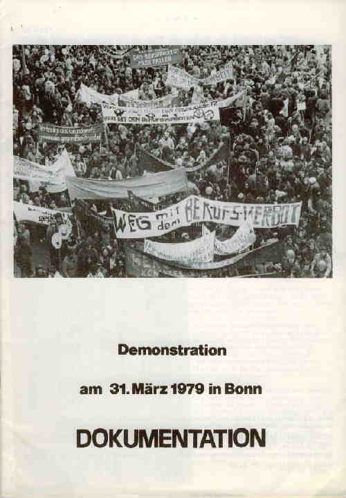 Titelbild: Demonstration am 31. März 1979 in Bonn Dokumentation